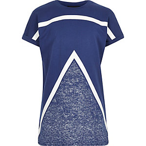 Boys blue colour block t-shirt