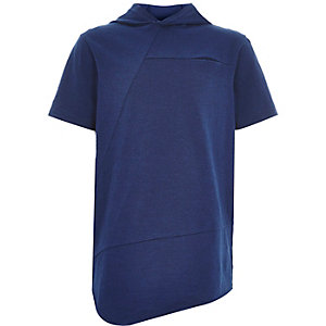 Boys blue asymmetric hooded t-shirt