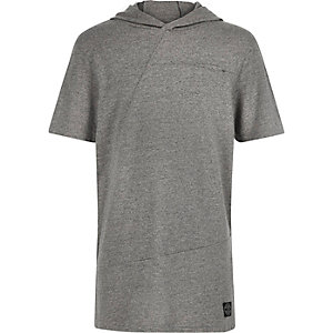 Boys grey short sleeve hooded t-shirt