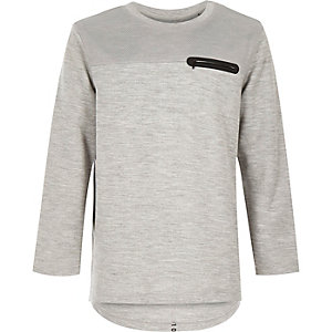 Boys grey panelled zip sweatshirt