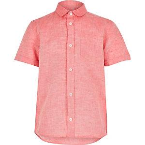 Boys coral linen blend shirt