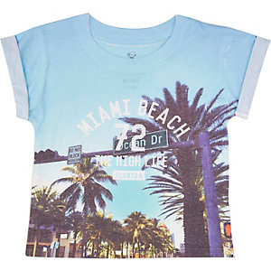 Mini boys blue Miami print t-shirt