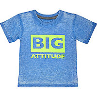 Mini boys blue big attitude print t-shirt