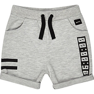 Mini boys grey jersey printed shorts