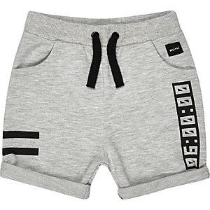 Mini boys grey jersey printed shorts