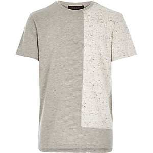 Boys ecru textured blocked t-shirt