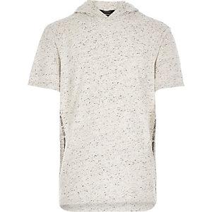 Boys ecru textured short sleeve hoodie