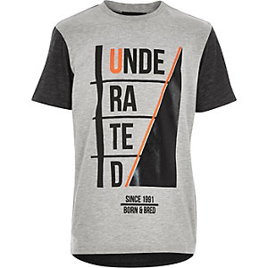 Boys grey underated print t-shirt
