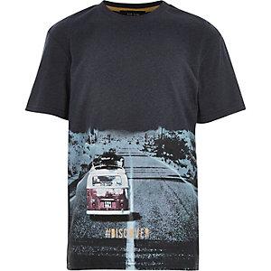 Boys blue #discover print t-shirt