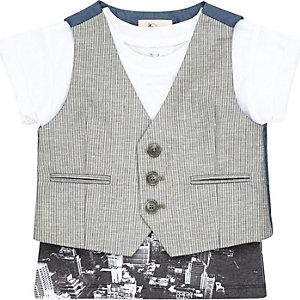 Mini boys grey waistcoat and t-shirt set