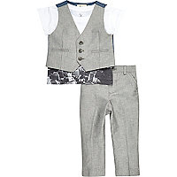 Mini boys grey smart tailored outfit