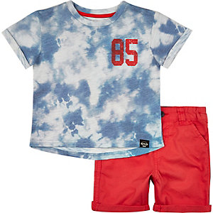 Mini boys blue tie dye t-shirt shorts outfit