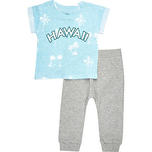 Mini boys blue Hawaii t-shirt joggers outfit
