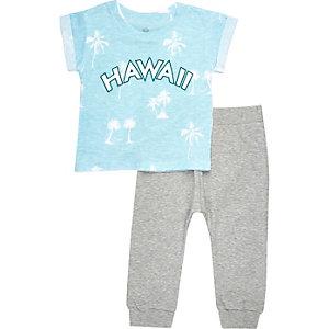 Mini boys blue Hawaii t-shirt joggers outfit