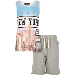 Boys blue New York print vest shorts outfit