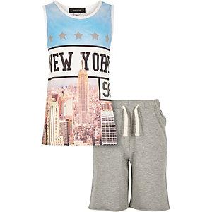 Boys blue New York print vest shorts outfit