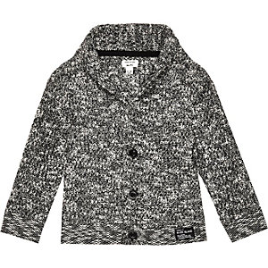 Mini boys black shawl neck cardigan
