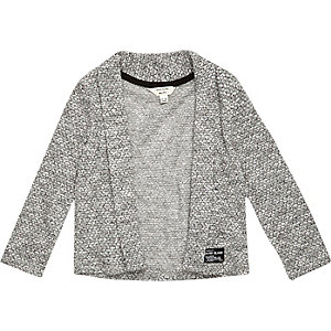 Mini boys grey open front cardigan