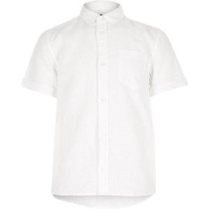 Boys white linen blend shirt