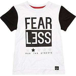 Mini boys white fearless print t-shirt