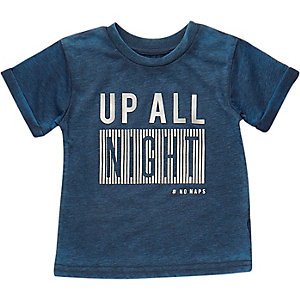 Mini boys blue night print t-shirt