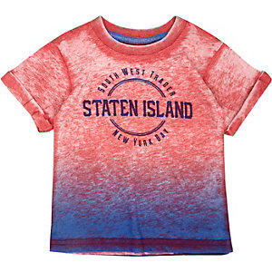 Mini boys red Staten Island print t-shirt