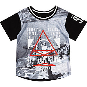 Mini boys black liberty print t-shirt