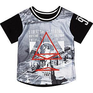 Mini boys black liberty print t-shirt
