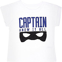 Mini boys white captain print t-shirt