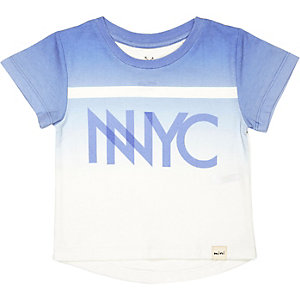 Mini boys blue faded NYC print t-shirt