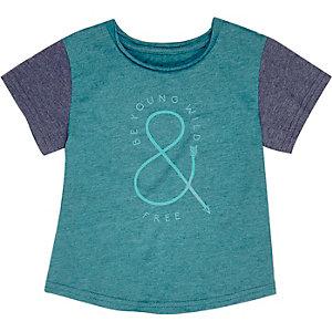 Mini boys blue slogan print t-shirt
