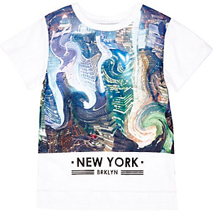 Mini boys white swirl city print t-shirt