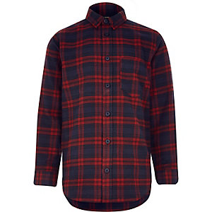 Boys dark red check shirt