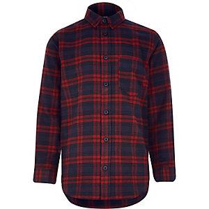Boys dark red check shirt
