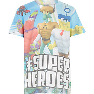 Boys white super heroes print t-shirt