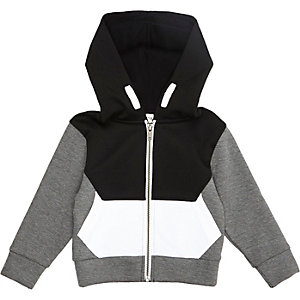 Mini boys black blocked colour hoodie