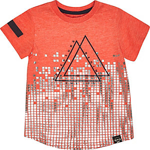 Mini boys orange triangle print t-shirt