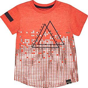 Mini boys orange triangle print t-shirt