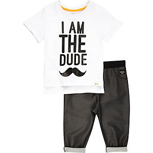 Mini boys dude print t-shirt joggers outfit