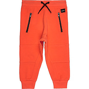 Mini boys red seamed joggers