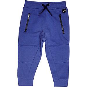 Mini boys blue seamed joggers