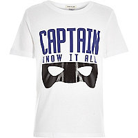 Boys white captain print t-shirt
