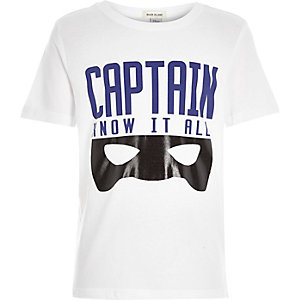 Boys white captain print t-shirt