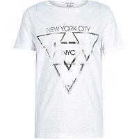 Boys white silver foil print t-shirt