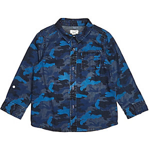 Mini boys blue camo print denim shirt