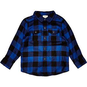 Mini boys blue check shirt