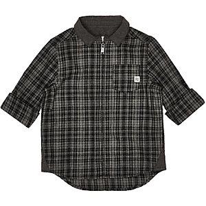Mini boys grey check flannel shirt