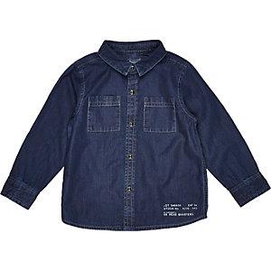 Mini boys blue denim utility shirt