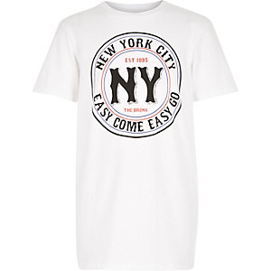 Boys white NY circle print t-shirt