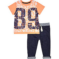 Mini boys orange 89 t-shirt joggers outfit
